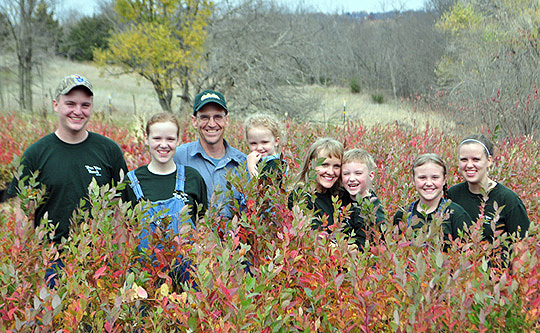 Wiley family in blueberry plants nursery